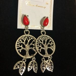 RESTOCKED! Silver & Red Tree Earrings NWT